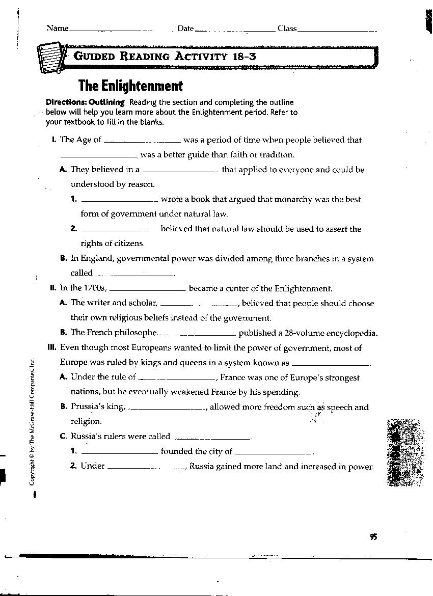 Worksheets Enlightenment Worksheet williamsonsocialstudies revolutions 18 3 guided reading worksheet