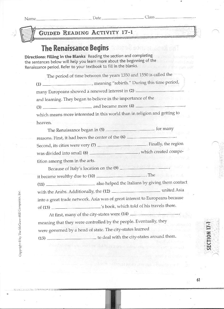 williamsonsocialstudies Renaissance – Renaissance Worksheet